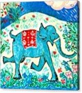 Blue Elephant Facing Right Acrylic Print by Sushila Burgess