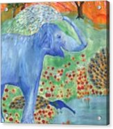 Blue Elephant Squirting Water Acrylic Print