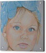 Blue Eyed Baby In Bandana Acrylic Print