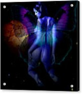 Blue Fairy And Planet Below Acrylic Print