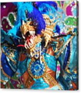 Blue Feather Carnival Costume And Colorful Background Horizontal Acrylic Print