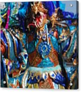 Blue Feather Carnival Costume Full Acrylic Print