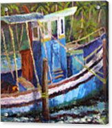 Blue Fishing Boat Acrylic Print