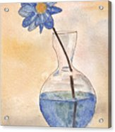 Blue Flower And Glass Vase Sketch Acrylic Print