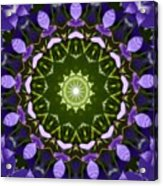 Blue Flowers Kaleidoscope Acrylic Print