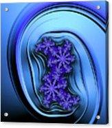 Blue Fractal Art Curved And Elegant Acrylic Print