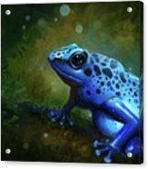 Blue Frog Acrylic Print by Caroline Jamhour