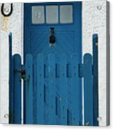 Blue Gate And Door On White House Acrylic Print