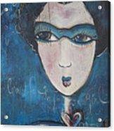 Blue Geisha Love Detail Acrylic Print