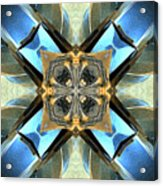Blue, Green And Gold Abstract Acrylic Print