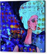 Blue Haired Girl On Windy Day Acrylic Print