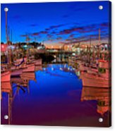 Blue Harbor Red Neon Acrylic Print