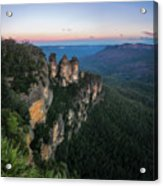 Blue Haze At Sunrise At Ecco Point In Blue Mountains Acrylic Print