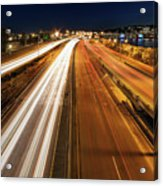 Blue Hour Freeway Light Trails Acrylic Print