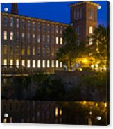 Blue Hour Over The Cocheco Mills Dover New Hampshire Acrylic Print