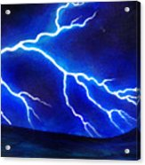 Blue Lightning Above The Ocean Acrylic Print