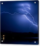 Blue Lightning Sky Over Water Acrylic Print