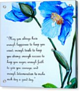 Blue Meconopsis Poppy Acrylic Print
