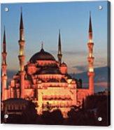 Blue Mosque At Dusk Acrylic Print
