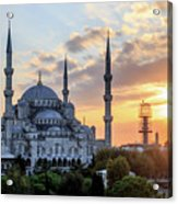 Blue Mosque At Sunset Acrylic Print