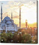 Blue Mosque Sunset Acrylic Print