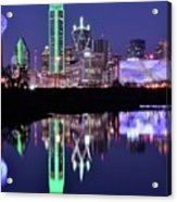 Blue Night And Reflections In Dallas Acrylic Print