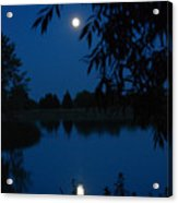 Blue Night Moon And Reflection Acrylic Print