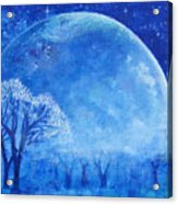 Blue Night Moon Acrylic Print by Ashleigh Dyan Bayer