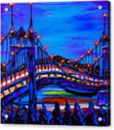 Blue Night Of St. Johns Bridge 37 Acrylic Print