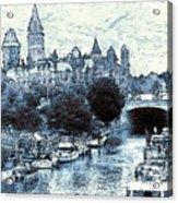 Blue Ottawa Skyline - Water Color Acrylic Print