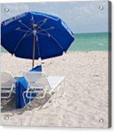 Blue Paradise Umbrella Acrylic Print