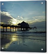 Blue Pier 60 Sunset Acrylic Print