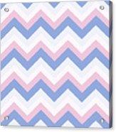 Blue Pink Chevron Pattern Acrylic Print