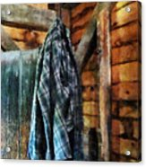 Blue Plaid Jacket In Cabin Acrylic Print by Susan Savad