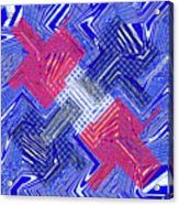 Blue Red And White Janca Abstract Panel Acrylic Print