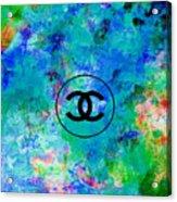 Blue Red Black Chanel Logo Print Acrylic Print