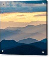 Blue Ridge Parkway Nc Blue Ridges And Golden Light Acrylic Print