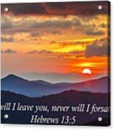 Blue Ridge Parkway Nc Sunset Inspiration Acrylic Print