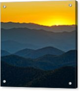 Blue Ridge Parkway Sunset Nc - Afterglow Acrylic Print by Dave Allen
