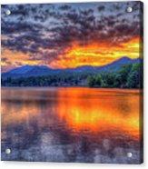 Blue Ridges Lake Junaluska Sunset Great Smoky Mountains Art Acrylic Print