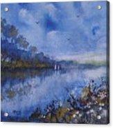 Blue Sail, Watercolor Painting Acrylic Print