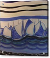 Blue Sailing Boats In The Harbour Acrylic Print