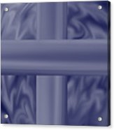 Blue Satin Cross Acrylic Print