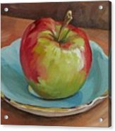 Blue Saucer With Apple Acrylic Print