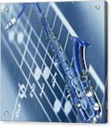 Blue Saxophone Acrylic Print