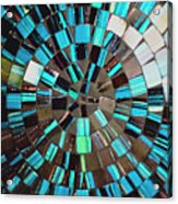 Blue Shiny Stones Gems In A Circular Pattern Acrylic Print