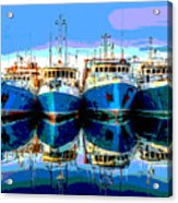 Blue Shrimp Boats Acrylic Print