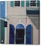 Blue Shutters In Charlotte Amalie Acrylic Print by Robert Rohrich