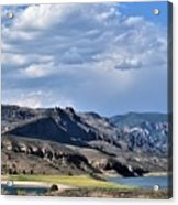 Blue Sky, Clouds With Mountain In Foreground  Acrylic Print