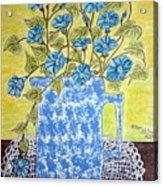 Blue Spongeware Pitcher Morning Glories Acrylic Print